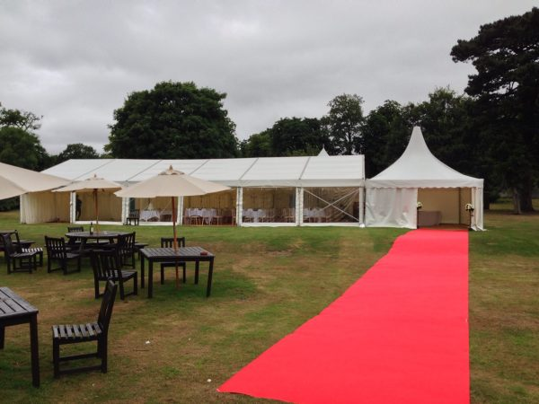 clearspan marquee with red carpet