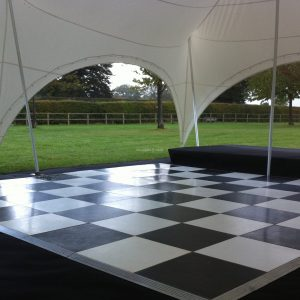 black and white dancefloor hire