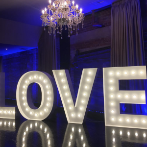 LED Love letters lighting hire